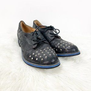 Not Rated Black Studded Lace-up Loafer Shoes
